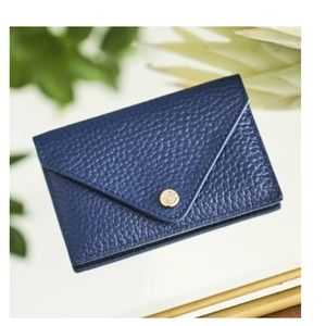 CARD CASE, Navy Blue pebble leather case.